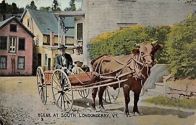 South Londonderry, VT-Couple Ride Through Town in a Horse Drawn Carriage