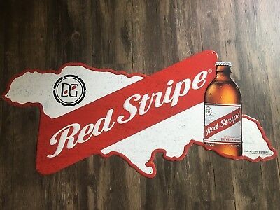 NIB! Red Stripe Tin Metal Sign Jamaican Beer