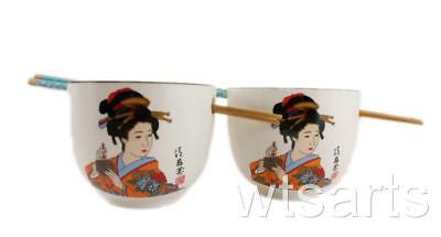 Geisha Pair Japanese Style Noodle Bowls Rice Bowl Chinese with Chopstick Set