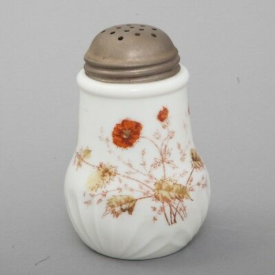 Victorian Sugar Shaker Opaque White Milk Glass Hand Painted Poppies Metal Top