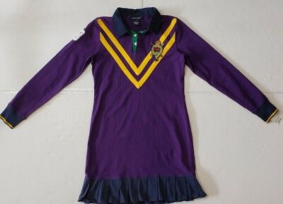 Nwt Polo Ralph Lauren Girls Polo Ashlin Rugby  Dress Purple #90