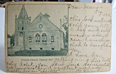 1906 UPLAND INDIANA Postcard of Friends Church Upland Indiana Mailed Early card