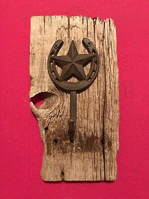 Rustic Barn Wood Cast Iron Western Star Horse Shoe Wall Towel Coat Metal Hook