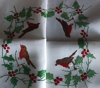 Stunning Vintage Linen Hand Embroidered Xmas Tablecloth ~ Robins & Holly