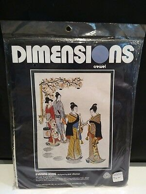 "Dimensions Crewel Kit Evening Song 1111 Pat Zitomer Unused 18"" x 24"" Frame Size"
