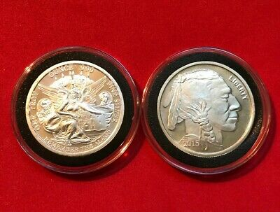 Lot of 2-1 oz Silver Rounds GEM BU .999 In Coin Capsules Dates & Designs Vary