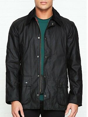 Barbour Ashby Waxed Cotton Jacket Black Size Large $399 *