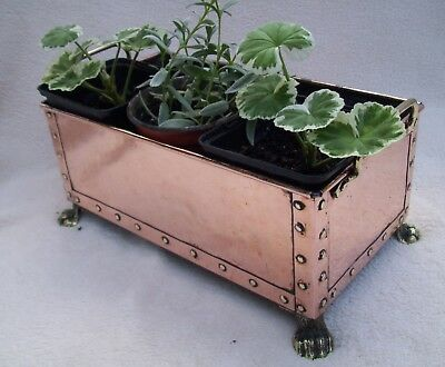 ARTS & CRAFTS COPPER PLANTER WITH BRASS HANDLES ON LION PAW FEET 260mm x 140mm