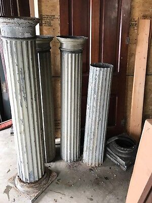 MAR set of four matching Antique metal fluted porch columns
