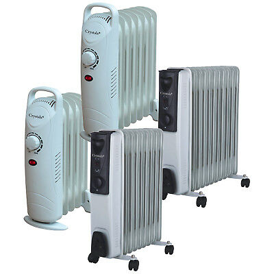 240V Oil Filled Radiator Electric Portable Heater Timer & 3 Heat | 5 7 9 11 Fin