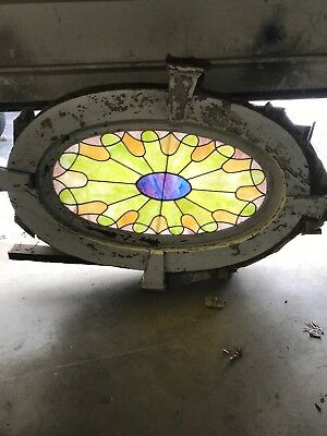 Mar Antique Oval Stain Glass Attic Window Victorian Home With Frame And Trim