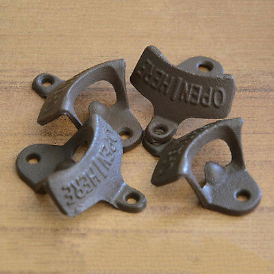 Open Here Cast Iron Cool Wall Mount Bottle Opener Western Rustic Brown HOT