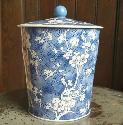 """DAHER Blue White Floral Decorative Tin Vintage Made in England approx. 6.5"""" tall"""
