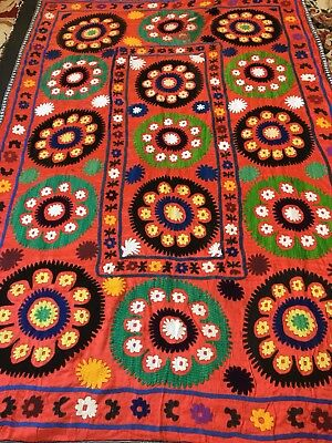 Antique Uzbek Large Old Handmade 100% Original  Embroidery Wall Hanging Suzani