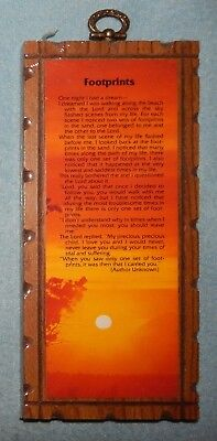 Footprints in The Sand - Inspirational on Wood Hanging Plaque - New