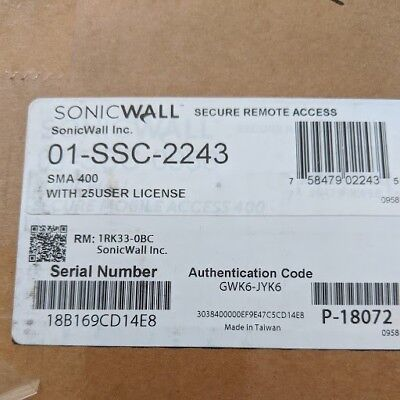 NEW SonicWALL 01-SSC-2243 SMA 400 Network Security/Firewall Appliance