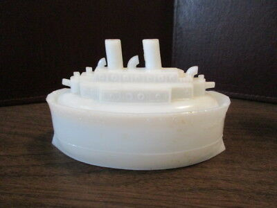 Vintage White Milk Glass Battleship - Candy Dish - Olympia