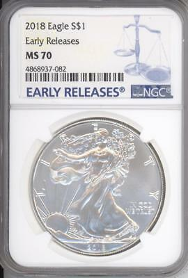 2018 American Silver Eagle Dollar NGC MS69 Early Releases - One Ounce - CB413