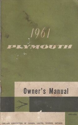 1961 Plymouth Belvedere Fury Savoy Owner's Manual USED