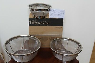 Pampered Chef Set Of 3 Stainless Mesh Colanders #2797 ~ New In Box