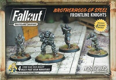 Modiphius:Fallout Wasteland 32mm MinisBrotherhood of steel Frontline Knights (4)