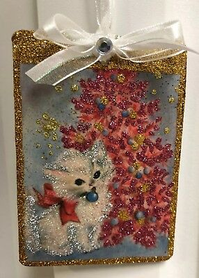 Handmade Vintage Inspired Kitten Glitter Wood Christmas Ornament Christmas Tree