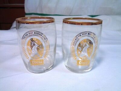 Set 2 Coors Beer Brewing Sample Tasting Glasses Beer Barrel Tumbler Glass Vtg