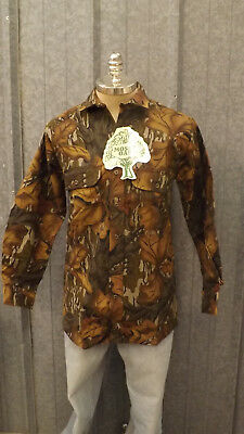 f1a3ca9c108a4 Vtg NEW Mossy Oak Fall Foliage Camo Shirt sz XL USA Made Cotton Chamois NOS