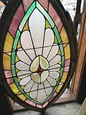 SG2673 antique Stainglass teardrop oval window 59.25 x 31