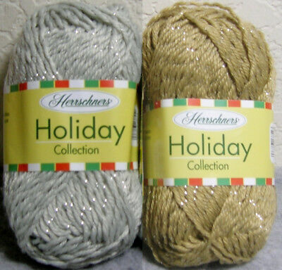 Mixed Lot of 2 - Herrschners Holiday/Christmas #4 Sparkle Yarn - Silver & Gold
