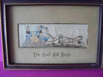 Stevengraph Woven Silk Picture The Good Old Days - Antique
