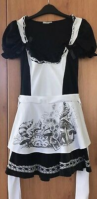 Dark Alice In Wonderland Apron Costume With Cheshire Cat, Lace And Bow Details S
