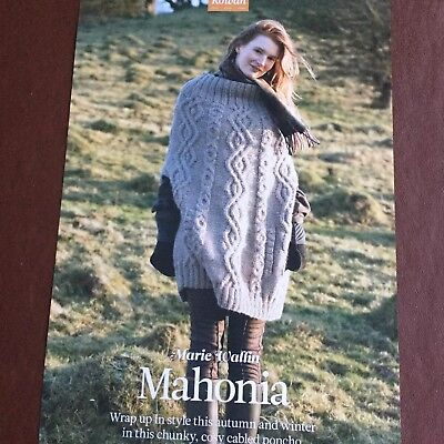 The Knitter - MAHONIA -Chunky Cosy Cable Poncho, Knitting Patten By Marie Wallin