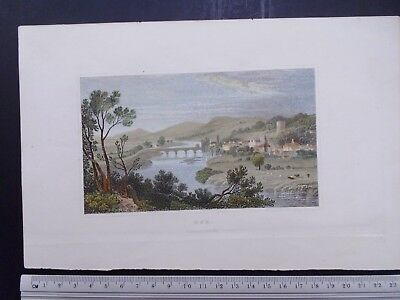 19th Century Antique Print, Usk, Monmouthshire. Hand coloured, fine detail