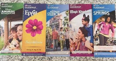NEW 2018 Walt Disney World Theme Park Guide Maps - 5  Maps Feb. 2018