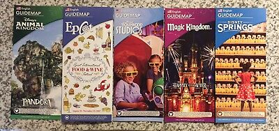 NEW 2017 Walt Disney World Theme Park Sept. 2017 Guide Maps - 5 Current Maps !!!