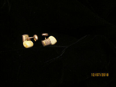 One-Of-A-Kind Elks Tooth Cufflinks With 10K Gold Cap And Studs Bpoe
