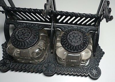 Late 19th Century Cast Iron Double Inkwell in Particularly Fine Condition