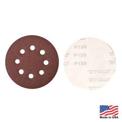 "50 Pack - 40 Grit 5"" Inch x 8 Hole Hook and Loop Sanding Discs Orbital DA Disks"