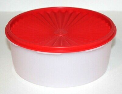 Tupperware Servalier Canister 8 Cups Stacking Sheer & Holiday Red Cookie Keeper