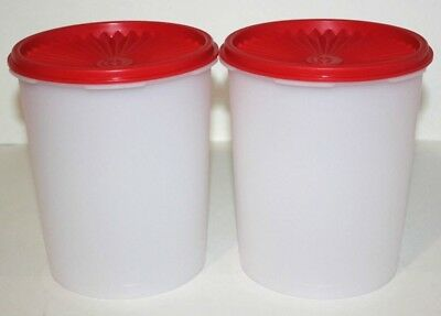 Tupperware Servalier Canisters 8 Cup Stacking Set of 2 Red Accordion Seals
