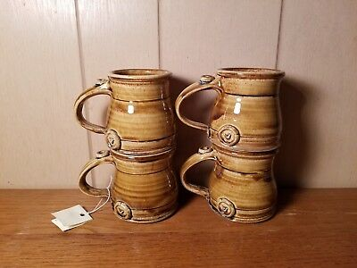 4 NEW Vintage Studio Pottery Mugs *Every Story Has A Bird* Brown Drip Glaze