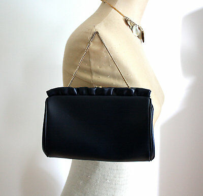 Vtg 50s 60s 1950 1960 Purse Faux Leather Ruffle Gold Clutch Small Navy Blue