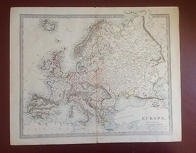 1874 Edward Stanford Steel Engraved Hand Coloured Map - Europe  / 17.25 X 14