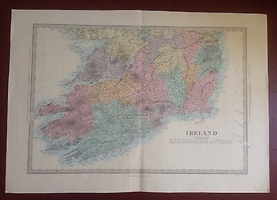 1874 Edward Stanford Steel Engraved Hand Coloured Map - Ireland  / 23 X 15.5