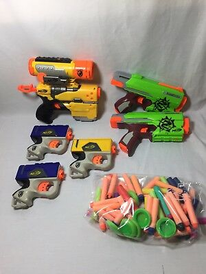Assorted, Nerf Gun And Bullet Lot, 56 Bullets, 6 N-Strike Guns, Gently Used