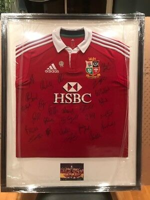 Signed & Framed British Lions Rugby 2013 Series Winning Squad Shirt & COA