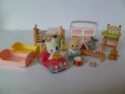 Sylvanian Families - Lots Of Nursery Items With Cute Babies - Double Buggy Etc