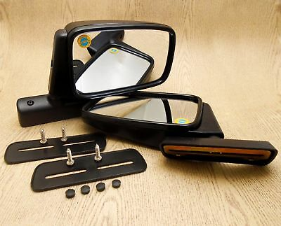 BLACK SPORTY FLAT DOOR MIRROR OPEL MANTA PAIR L/&R NEW Right and Left mounting