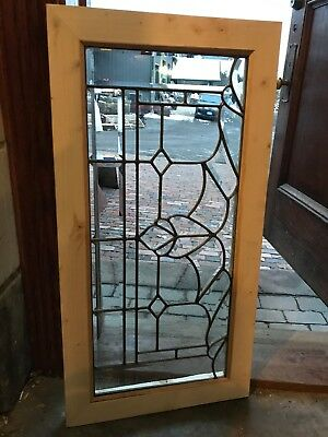 Sg 2677 Antique Beveled And Leaded Glass Transom Window 19 x 37